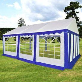 Pavilion de grădină PVC 3 x 6 m Albastru și alb