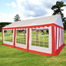 Pavilion de grădină PVC 4 x 6 m, Roșu și Alb