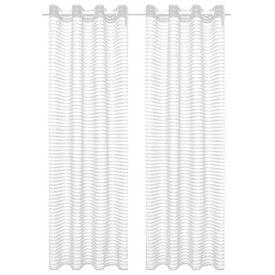 Perdele transparente, cu dungi, 2 buc, 140 x 175 cm, alb