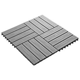 Plăci podea în relief WPC, 11 buc., 30 x 30 cm, 1 mp, gri