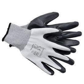 [pro.tec]® Manusi protectia muncii, 24 perechi, L (23,5 cm), poliester/nitril, negru/alb, ideale pentru gradinarit