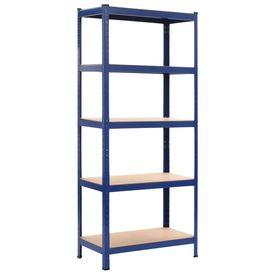 Rafturi depozitare, 2 buc., albastru, 80x40x180 cm, oțel și MDF