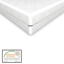 Saltea spuma rece, 90 x 200 x 11 cm, cu husa matlasata cu fermoar, grosime 1 cm, asigura protectie impotriva lichidelor, alb