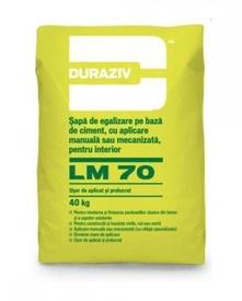 Şapă de egalizare pe bază de ciment cu aplicare manuală sau mecanizată, pentru interior Duraziv LM70 - 40 kg