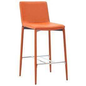 Scaune de bar, 4 buc., portocaliu, piele ecologică