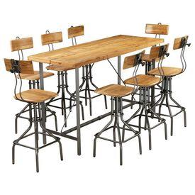 Set de bar, 9 piese, lemn masiv de tec reciclat