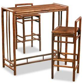 Set de mobilier, 3 piese, bambus, maro