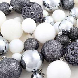 Set globuri de Crăciun 100 de piese, 6 cm, alb/gri