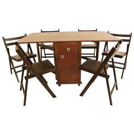 Set masa plianta cu usa si sertar wenge cu 6 scaune