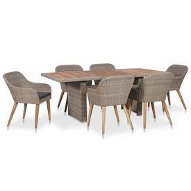 Set mobilier de exterior cu perne, 7 piese, poliratan