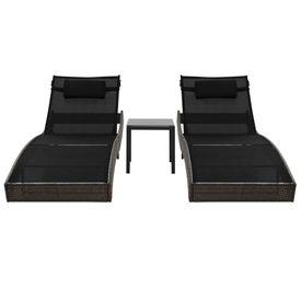 Șezlonguri de plajă cu masă 2 buc. maro poliratan & textilenă