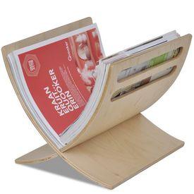 Suport din lemn pentru reviste, vertical, natural