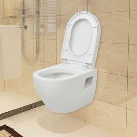 Toaletă suspendată cu rezervor, ceramică, Alb