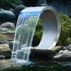 Ubbink Cascadă de grădină Mamba din oțel inoxidabil iluminată cu LED