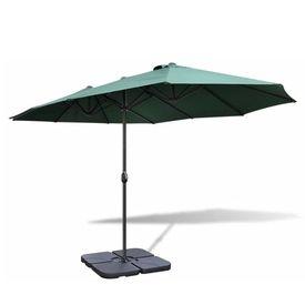 Umbrelă cu bază portabilă, 2,7 x 4,6 m, aluminiu, verde