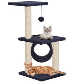 vidaXL Ansamblu pisici, stâlpi din funie sisal, 65 cm, bleumarin
