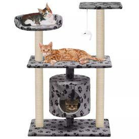 vidaXL Ansamblu pisici, stâlpi funie sisal, 95 cm imprimeu lăbuțe Gri