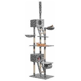vidaXL Ansamblu pisici, stâlpi sisal, 230-260 cm Imprimeu lăbuțe Gri