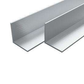 vidaXL Bare unghiulare aluminiu, profil L, 4 buc, 15 x 15 x 2 mm, 2 m