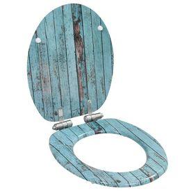 vidaXL Capac WC cu închidere silențioasă, MDF, design lemn vechi