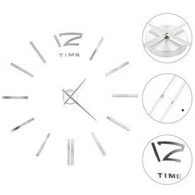 vidaXL Ceas de perete 3D, argintiu, 100 cm, XXL, design modern