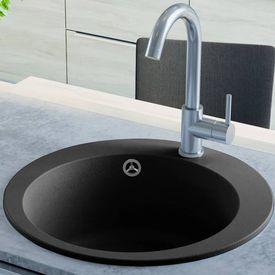 vidaXL Chiuvetă din granit de bucătărie cu un bazin, rotundă, Negru