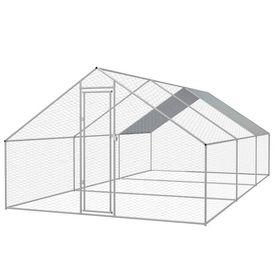 vidaXL Coteț păsări de exterior, oțel galvanizat, 3x6x2 m