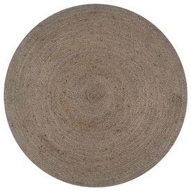 vidaXL Covor manual, gri, 150 cm, iută, rotund