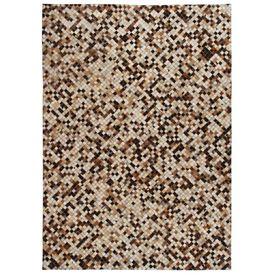 vidaXL Covor piele naturală, din petice, 160x230cm, pătrate, maro/alb