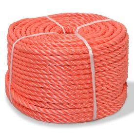 vidaXL Frânghie împletită polipropilenă, portocaliu, 250 m, 14 mm