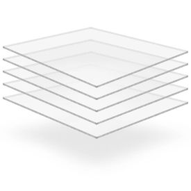 vidaXL Plăci din sticlă acrilică transparentă, 5 buc, 40 x 60 cm, 5 mm