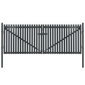 vidaXL Poartă de gard dublă, antracit, 400 x 245 cm, oțel