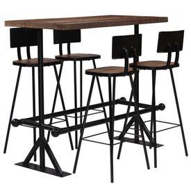 vidaXL Set de bar, 5 piese, lemn masiv reciclat