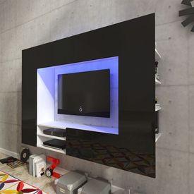 Vitrină lucioasă cu unitate TV și iluminare LED, 169,2 cm, Neagră