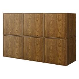 Comoda cu usi, design combinat, montabila pe perete,135 x 30 x 90 cm, MDF/furnir, lemn de nuc