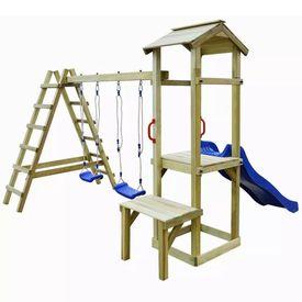 Set joacă tobogan scări leagăne 286x228x218 cm lemn de pin FSC