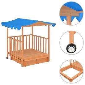Casă de joacă pentru copii cu groapă nisip albastru lemn UV50