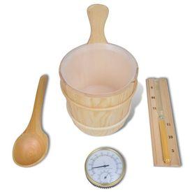 Accesorii saună găleată/lingură/termometru/higrometru/clepsidră/bol