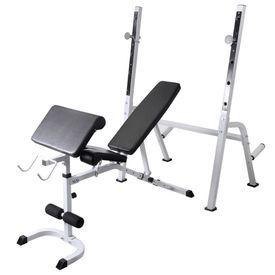 Bancă antrenament rastel greutăți, set haltere/gantere, 30,5kg