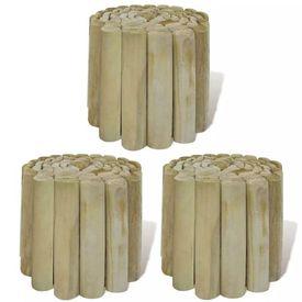 Bordură de gazon din rolă de butuci 3 buc. 250 x 20 cm