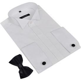 Cămașă smoching bărbați cu butoni și papion, mărimea L, alb