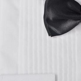 Cămașă smoching bărbați, plisată, cu butoni și papion, mărime M, alb