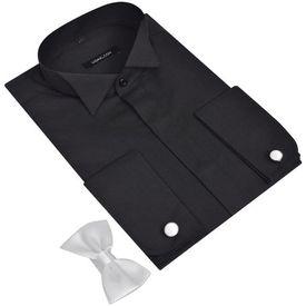 Cămașă smoching pentru bărbați, cu butoni și papion, mărime L, negru