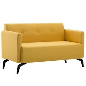Canapea 2 locuri tapițerie material textil 115x60x67 cm, galben