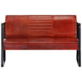 Canapea cu 2 locuri, maro, piele naturală