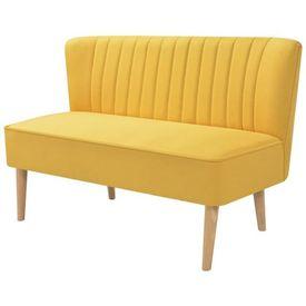 Canapea cu material textil, 117 x 55,5 x 77 cm, galben