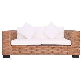 Canapea de grădină cu 2 locuri, ratan natural