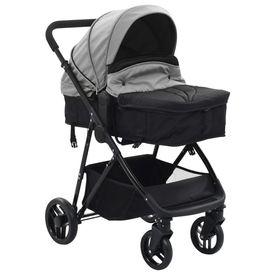 Căruț/landou pentru copii 2-în-1, gri și negru, oțel