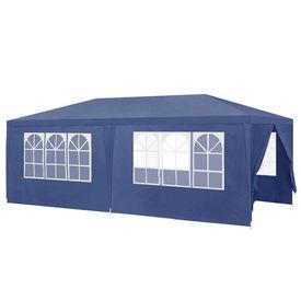 [casa.pro]® Pavilion gradina AAGP-9603, 600 x 300 x 255 cm, metal/polietilena, albastru inchis