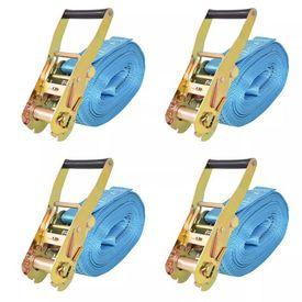 Chingi fixare cu clichet, 4 buc, 4 tone, 8 m x 50 mm, albastru